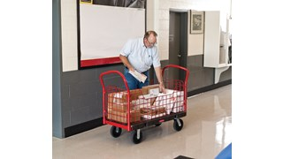 "The Rubbermaid Commercial Side Panel Platform Truck 24""X48"" with 8"" POLYOLEFIN casters, 2000 lb. capacity. Ideal for moving large, heavy, oversized loads in a variety of environments from retail to construction."