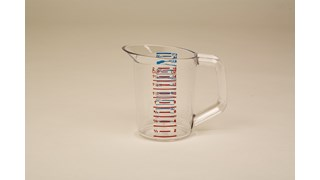 The Rubbermaid Commercial Bouncer® Measuring Cup is constructed of break-resistant, clear polycarbonate.