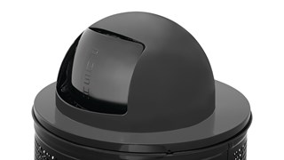 The Rubbermaid Commercial Dome Trash Can Lid conceals unpleasant odors and unsightly waste