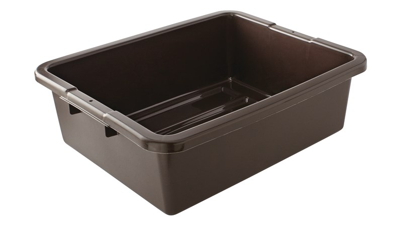 The Rubbermaid Commercial Products Bus/Tote Box is constructed of commercial grade plastic for durability.