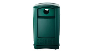 The Rubbermaid Commercial Plaza® Bottle and Can Recycling Container offers contemporary styling with a side-opening door for ergonomic waste emptying.