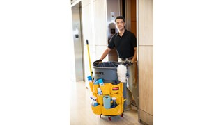 Turn your Rubbermaid Commercial BRUTE® container into a cleaning cart with storage and transport for spray bottles, wet-floor signs, lobby dust pan, brushes, liners, gloves, and other cleaning supplies