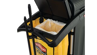 The Rubbermaid Commercial Executive Triple Wire Bag Waste Holders provide separation of waste, recycling, and dirty cleaning cloths and pads for cleaning carts.