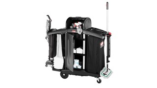 The Rubbermaid Commercial Executive Series High Security Compact Housekeeping Cart is an ergonomic and lightweight housekeeping solution.