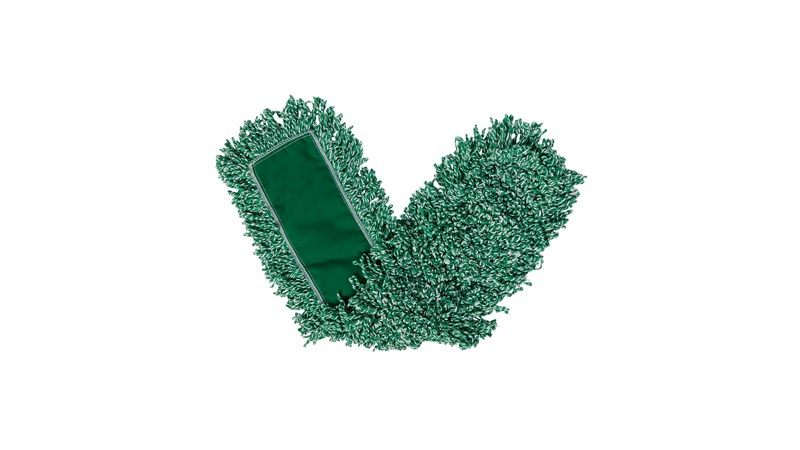 The Rubbermaid Commercial Microfiber Dust Mop has strings of green microfiber yarn sewn to a backing, and can be used with a mop head frame and handle (sold separately) to dust floors.