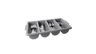Safely stores and transports cutlery to minimize employee injuries.