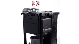 The Traditional Janitorial Cleaning Cart with zippered vinyl bag collects waste and transports tools for efficient cleaning.