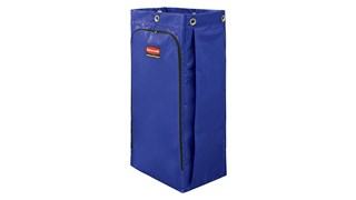 Rubbermaid Commercial Products Cleaning Cart Vinyl Bag collects up to 34 gallons of waste (20% more than traditional cart bags) with zippered front for easy trash removal.