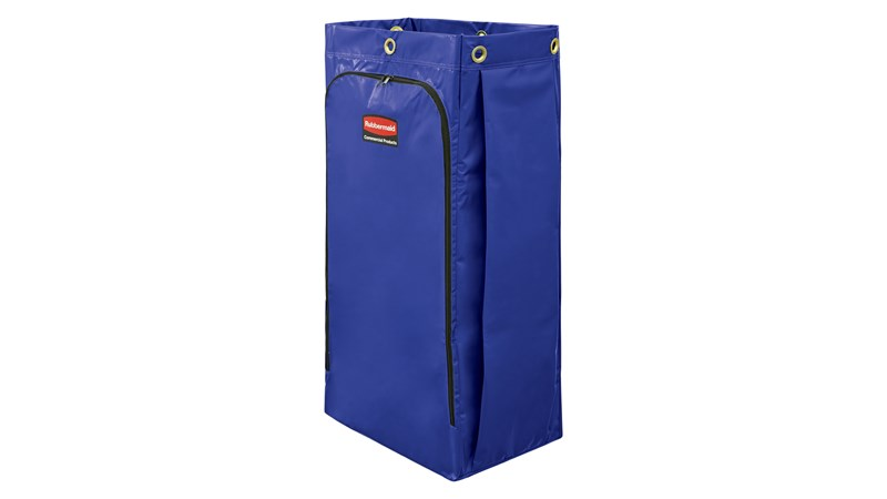 The Rubbermaid Commerical Vinyl Bag for Janitorial Cleaning Carts is a high-capacity waste collection bag that can hold up to 34 gallons of soiled linens or waste  – 20% more than traditional cart bags.