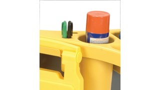 The Rubbermaid Commercial BRUTE® Rim Caddy snaps securely onto the rim of  44 Gallon BRUTE® Containers.