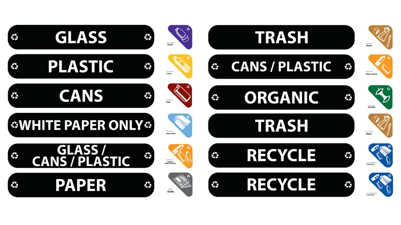 The Waste Stream Label Kit contains intuitive waste stream decals, ensuring waste sortation accuracy.