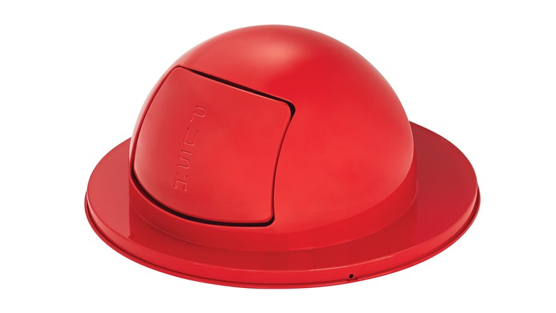 "The Steel Drum Dome Top is a self-closing ""push"" door top that is Factory-Mutal (FM) approved when used with a Rubbermaid Commercial 55-gallon Steel Drum Container. Helps seal away unpleasant odors and unsightly waste."
