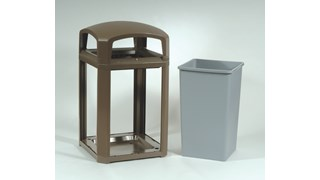 Landmark Series® Classic Containers with Domed Top are the ideal solution for high-volume outdoor waste collection. Easy-to-service design features a hinged top with a stay-open strap to access rigid liner for quick waste removal.