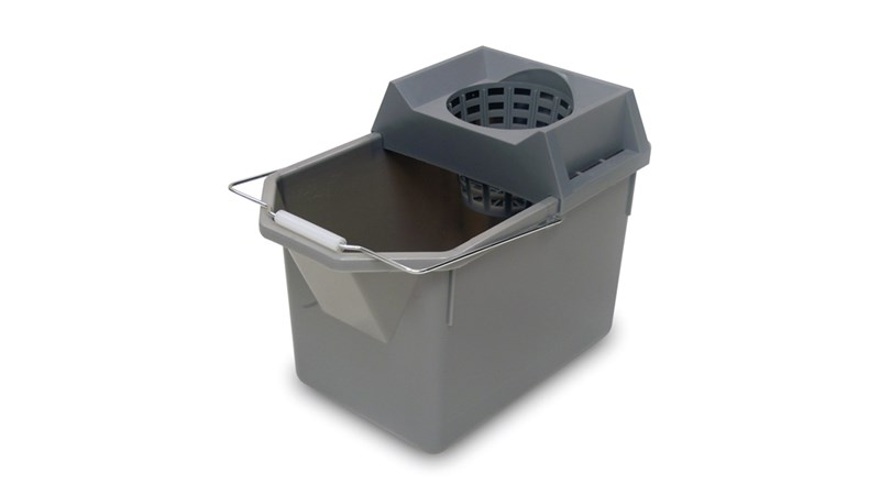 The Rubbermaid Commercial Pail and Mop Strainer Combo makes it easy to travel up and down stairs with a 15-quart pail and strainer capable of wringing a 10 oz. mop. Constructed of durable plastic it is easy to clean and nests for easy storage.