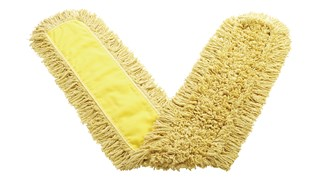 "Trapper® Dust Mop 60"" FGJ15800 is a looped-end, balanced-blend dust mop for general-purpose dust mopping. Pretreated, preshrunk, and fully launderable for long product life. Slip-on backing for easy setup. All-sewn construction. Recycled content: up to 65% post-industrial cotton and 35% PET plastic."