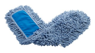 """Twisted-Loop Blend Dust Mop 36"""" FGJ25500 is a premium prelaundered dust mop that provides maximum durability and optimal cleaning performance. Twisted loops create fuller mop heads with no gaps, offering better coverage than traditional ply yarn and improved collection and retention of dust and dirt particles. Less prone to snagging, fraying, and unraveling. Slip-on backing for easy setup. Durable polyester backing designed for launderable printing. Recycled content: Yellow Mops are up to 62% PIC and 10% PET; Blue Mops are up to 65% PIC and 35% PET. Handles sold separately."""
