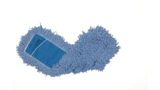 "Twisted-Loop Blend Dust Mop 24"" FGJ25300 is a premium prelaundered dust mop that provides maximum durability and optimal cleaning performance. Twisted loops create fuller mop heads with no gaps, offering better coverage than traditional ply yarn and improved collection and retention of dust and dirt particles. Less prone to snagging, fraying, and unraveling. Slip-on backing for easy setup. Durable polyester backing designed for launderable printing. Recycled content: Yellow Mops are up to 62% PIC and 10% PET; Blue Mops are up to 65% PIC and 35% PET. Handles sold separately."