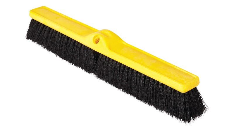 The Rubbermaid Commercial Medium Floor Sweep Push Broom Head is designed to sweep up light to medium debris on different surfaces.