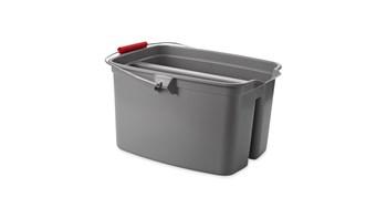 The Rubbermaid Commercial Double Pail Plastic Bucket makes using a sponge mop simple.