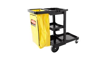 The Traditional Janitorial Cleaning Cart with zippered yellow vinyl bag collects waste and transports tools for efficient cleaning.