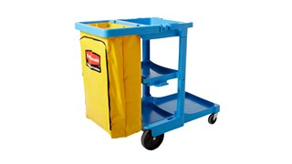 The Rubbermaid Commercial Traditional Janitorial Cleaning Cart with Zippered Yellow Bag collects waste and transports tools for efficient cleaning.