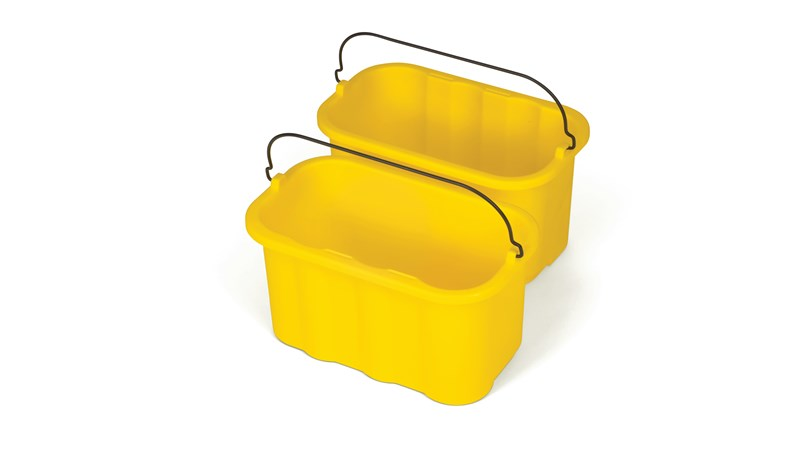 The 10-Quart Caddy for Cleaning Carts provides a quick and easy way to clean in tight places.
