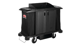 The Executive Full-Size Housekeeping Cart with Doors is a complete system solution for housekeeping with optional double bag collection and adjustable shelves.