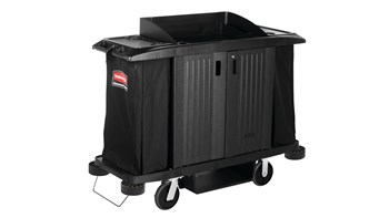 Executive Traditional Full-Size Housekeeping Cart with Doors, Black