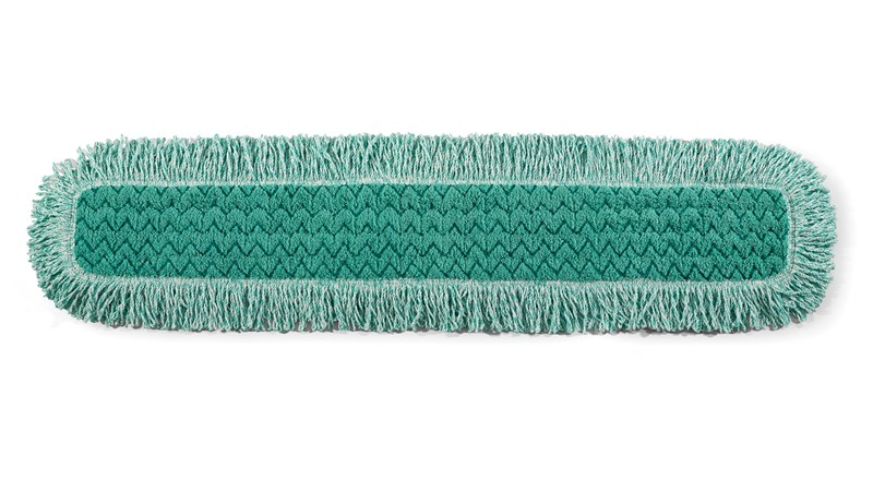 The Rubbermaid Commercial HYGEN™ Microfiber Dust Pads with fringe trap and lock away dust, dirt, and debris while fringe grabs and holds larger particles.
