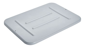 This Rubbermaid Commercial Tote Box Lid is made of durably polyethylene and snaps on tightly.