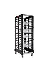 End loader Rack for 18 Food Boxes and Sheet Pans Black