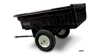 The Rubbermaid Commercial Tractor Dump Cart is constructed with a smooth, seamless interior that makes dumping and cleaning easy.