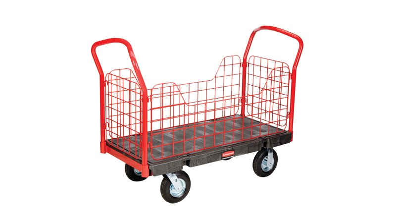"The Rubbermaid Commercial Side Panel Platform Truck  24""X36"" with 8""PNEUMATIC casters, 1200 lb. capacity. Ideal for moving large, heavy, oversized loads in a variety of environments from retail to construction."