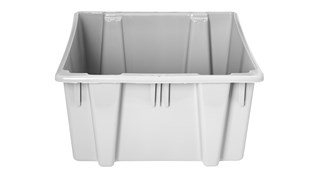 The Rubbermaid Commercial HDPE Stack and Nest Palletote® Storage Tote Box provides cost-effective storage and transport.