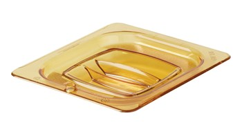 Hot Food Pan Cover with Peg Hole is break resistant and won't rust, dent, or bend. Used to cover all 1/6 size hot food pans, it has a peg hole for easy hanging to store or dry and is quieter than metal.