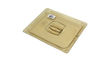 The Rubbermaid Commercial Hot Food Pan Cover with Peg Hole is break resistant and won't rust, dent, or bend.