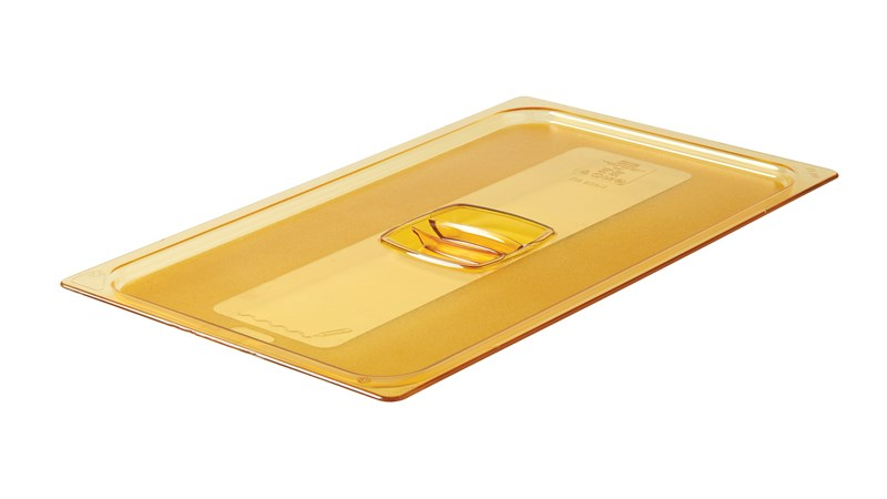 The Rubbermaid Commercial Hot Food Pan Lid with Handle is designed to keep food hot.