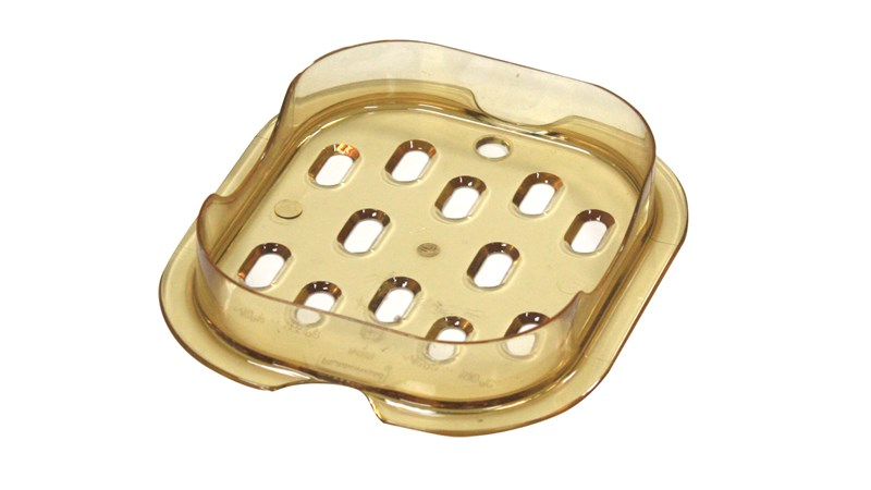 The Rubbermaid Commercial Hot Food Pan Drain Tray is safely designed to be cooler to the touch than metal.