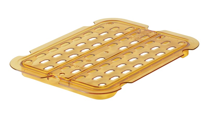 Drain tray for heavy duty hot insert pans help improve air circulation, keeping food fresh longer.  Steam table and microwave save.