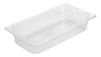 Clear, break resistant insert pans in industry standard, gastronorm sizes
