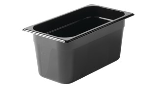 Black, break resistant insert pans in industry standard, gastronorm sizes