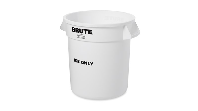 "The Rubbermaid Commercial 10 Gallon BRUTE® container with ""ICE ONLY"" imprint on front, ensuring safe ice handling"