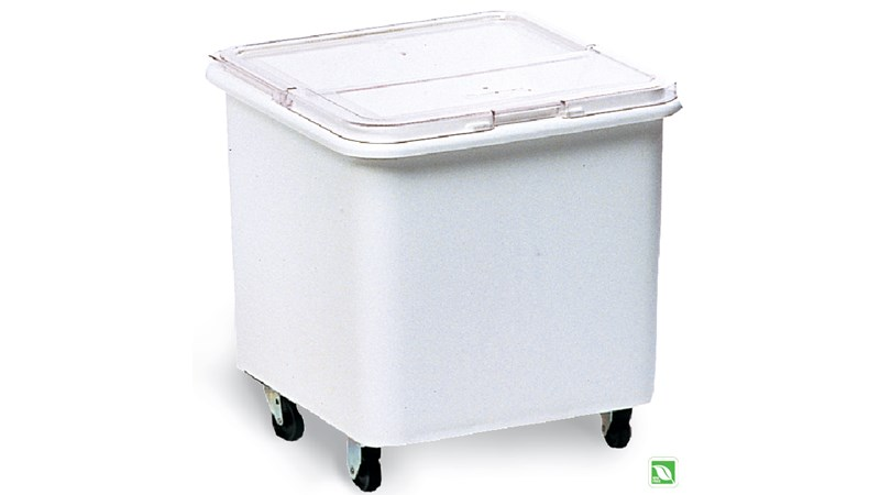 The Rubbermaid Commercial Flat Top Ingredient Bin with Sliding Lid allows your ingredients to be identified easily and seals in freshness.