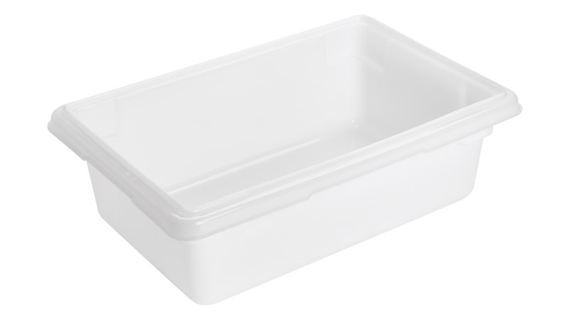The Rubbermaid Commercial Food Storage Tote is constructed of durable polyethylene and is industry standard-sized to fit into existing racks and counters.