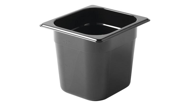 Black, break resistant insert pans in industry standard, gastronorm sizes