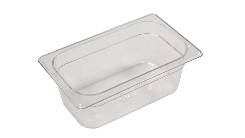 Clear, break resistant insert pans in industry standard, gastronorm sizes.