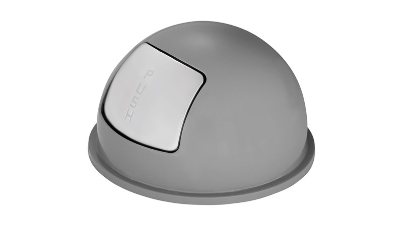 The Rubbermaid Commercial Dome Tops for Steel Wastebaskets are fire-safe and puncture-resistant.