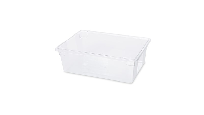 The Rubbermaid Commercial Food Storage Tote Box is a clear, stain-resistant bulk food storage container. It features label and date panels for easy identification.
