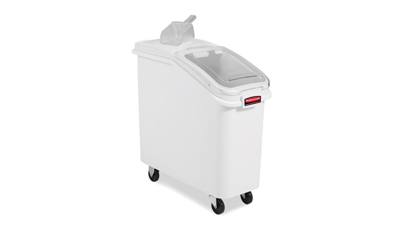 The Rubbermaid Commercial ProSave® Ingredient and Food Storage Mobile Bin is a bulk food storage container on wheels. With a slanted front, sliding opening, and 32-ounce scoop, these food storage containers make it easy to transport ingredients.