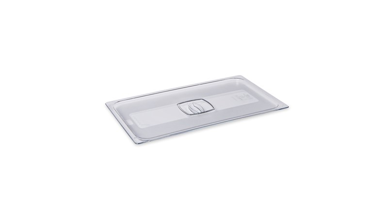 The Rubbermaid Commercial Cold Food Pan Cover, Full Size, is clear for easy identification of contents and features handles for easy transport.